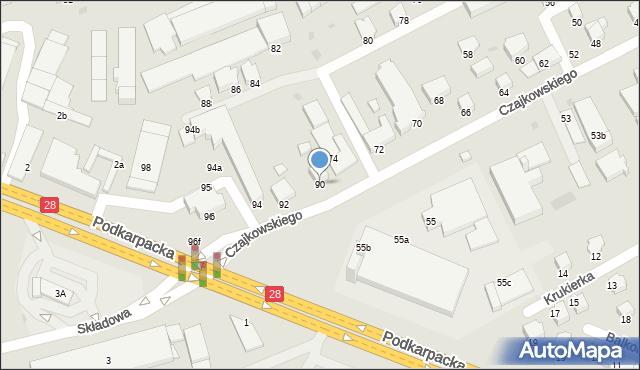 Krosno, Czajkowskiego Feliksa, 90, mapa Krosna