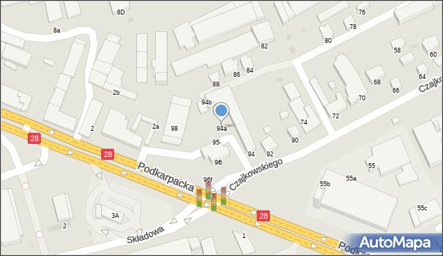 Krosno, Czajkowskiego Feliksa, 94a, mapa Krosna
