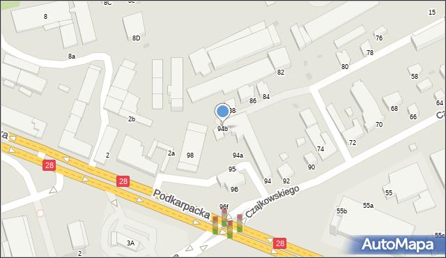 Krosno, Czajkowskiego Feliksa, 94b, mapa Krosna