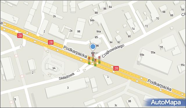 Krosno, Czajkowskiego Feliksa, 96f, mapa Krosna