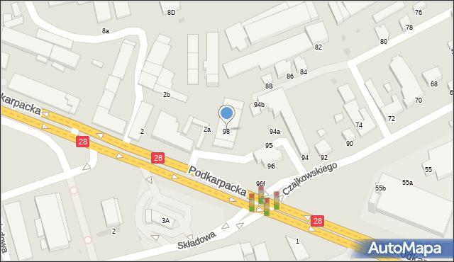 Krosno, Czajkowskiego Feliksa, 98, mapa Krosna