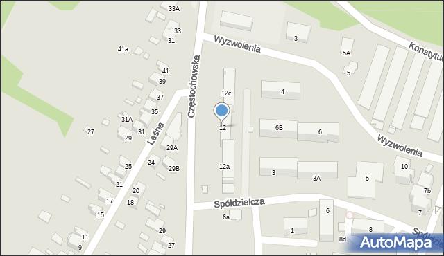 Łazy, Częstochowska, 12, mapa Łazy
