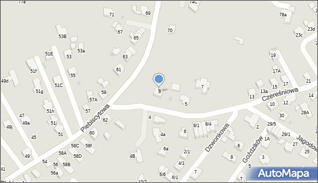 Mikołów, Czereśniowa, 3, mapa Mikołów