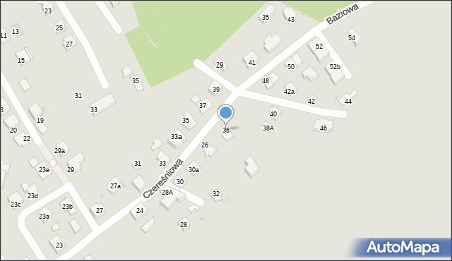 Mikołów, Czereśniowa, 36, mapa Mikołów
