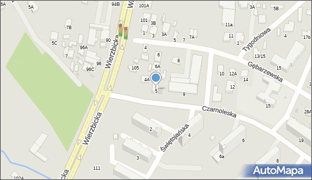 Radom, Czarnoleska, 5, mapa Radomia