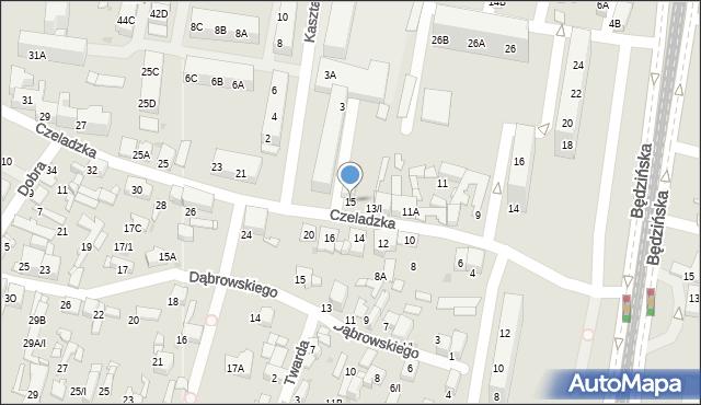 Sosnowiec, Czeladzka, 15, mapa Sosnowca