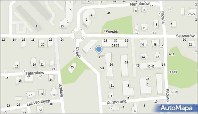 Toruń, Czapli, 3, mapa Torunia