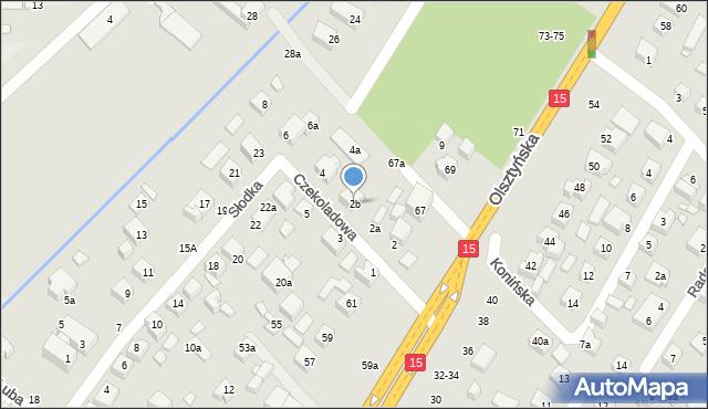 Toruń, Czekoladowa, 2b, mapa Torunia