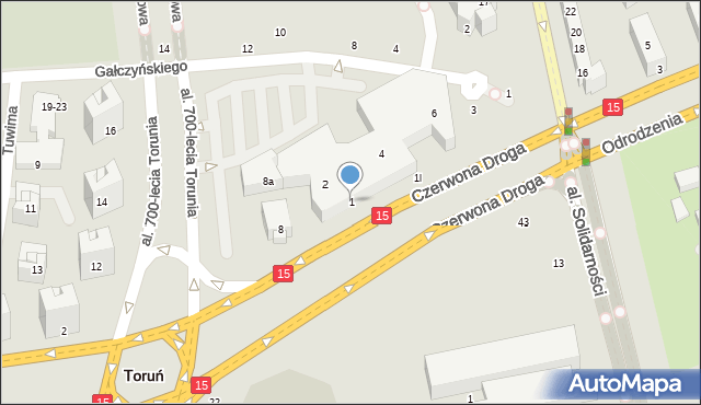 Toruń, Czerwona Droga, 1, mapa Torunia