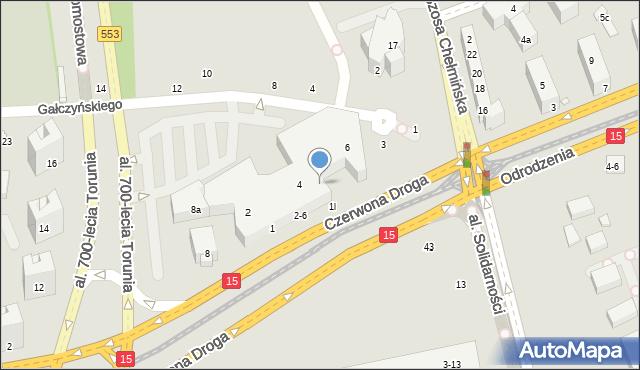 Toruń, Czerwona Droga, 16, mapa Torunia