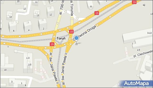 Toruń, Czerwona Droga, 22, mapa Torunia