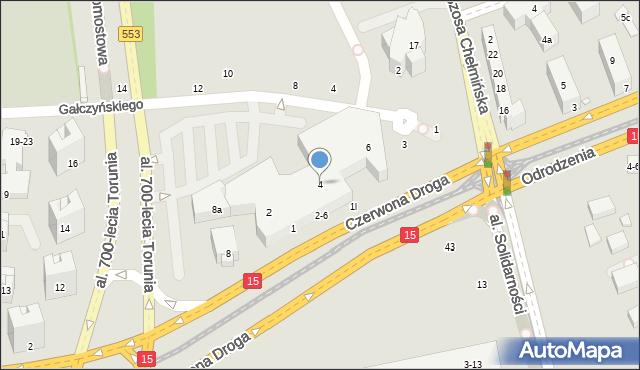 Toruń, Czerwona Droga, 4, mapa Torunia