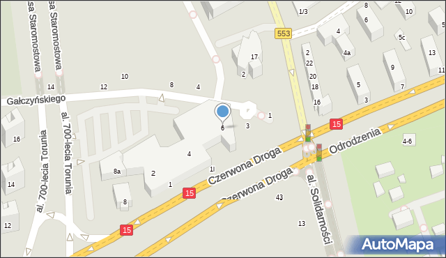 Toruń, Czerwona Droga, 6, mapa Torunia