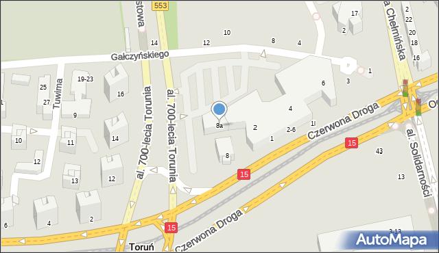 Toruń, Czerwona Droga, 8a, mapa Torunia