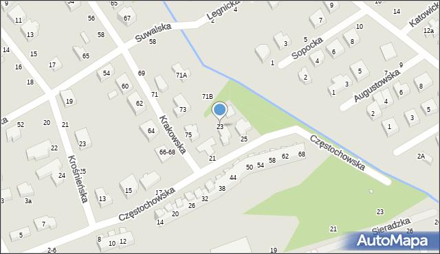 Toruń, Częstochowska, 23, mapa Torunia