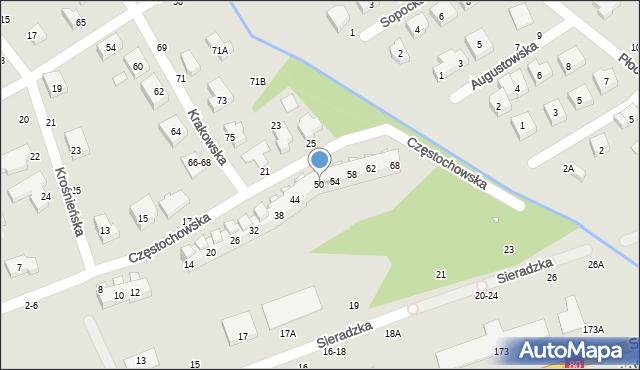 Toruń, Częstochowska, 50, mapa Torunia