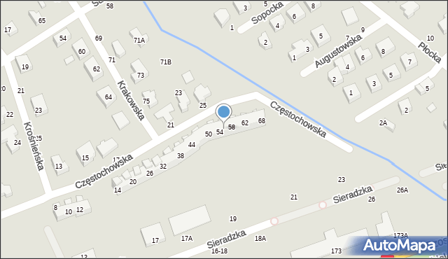 Toruń, Częstochowska, 56, mapa Torunia