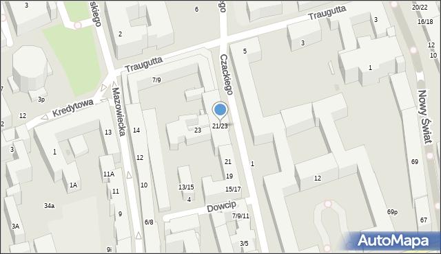 Warszawa, Czackiego Tadeusza, 21/23, mapa Warszawy