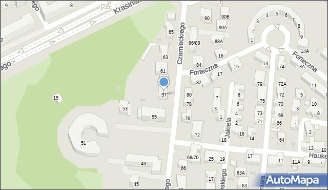 Warszawa, Czarnieckiego Stefana, hetm., 57, mapa Warszawy