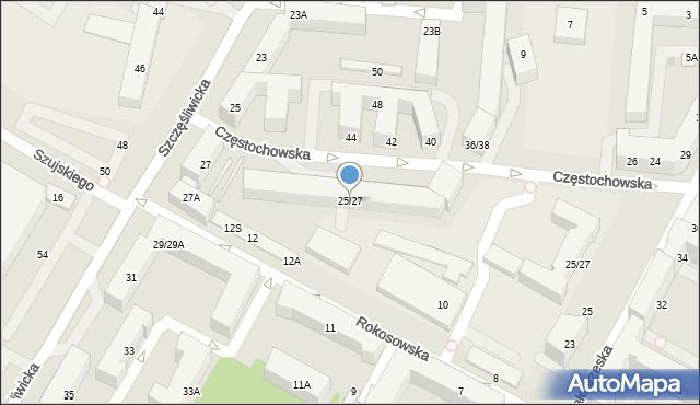 Warszawa, Częstochowska, 25/27, mapa Warszawy