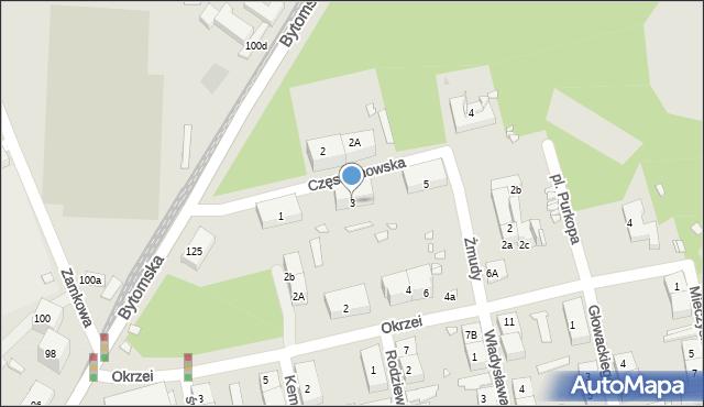 Zabrze, Częstochowska, 3, mapa Zabrza
