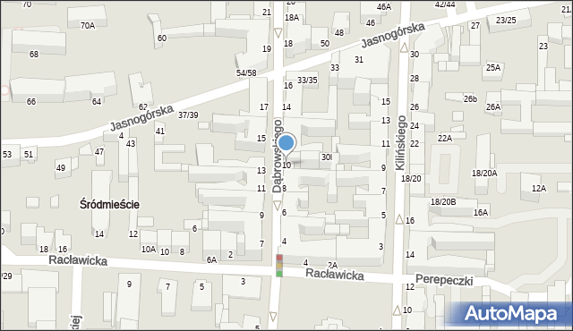 Częstochowa, Dąbrowskiego, 10, mapa Częstochowy