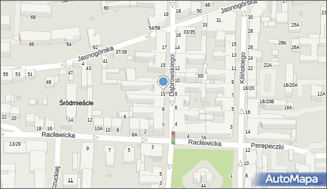 Częstochowa, Dąbrowskiego, 11, mapa Częstochowy