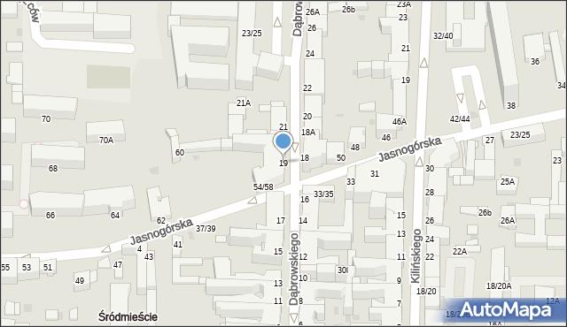Częstochowa, Dąbrowskiego, 19, mapa Częstochowy