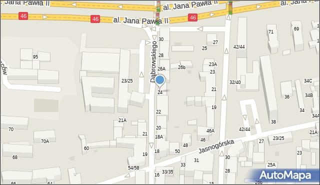 Częstochowa, Dąbrowskiego, 24, mapa Częstochowy