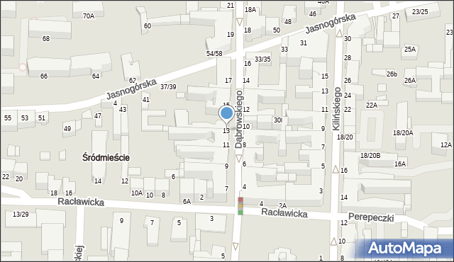 Częstochowa, Dąbrowskiego Henryka, gen., 13, mapa Częstochowy