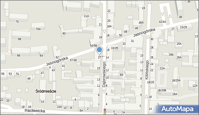 Częstochowa, Dąbrowskiego Henryka, gen., 17, mapa Częstochowy