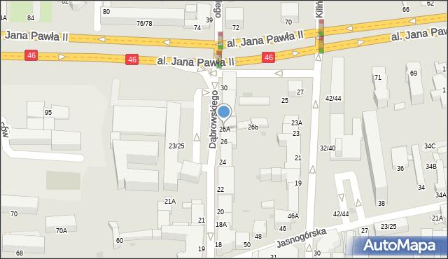 Częstochowa, Dąbrowskiego Henryka, gen., 26A, mapa Częstochowy