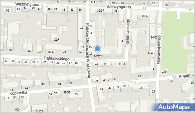 Częstochowa, Dąbkowskiego, 20/22, mapa Częstochowy