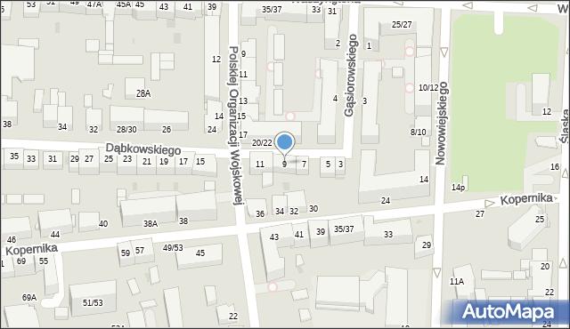 Częstochowa, Dąbkowskiego, 9, mapa Częstochowy
