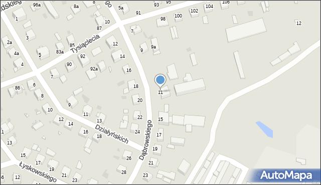 Grudziądz, Dąbrowskiego, 11, mapa Grudziądza