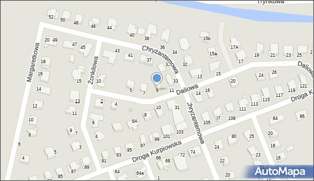 Grudziądz, Daliowa, 9, mapa Grudziądza