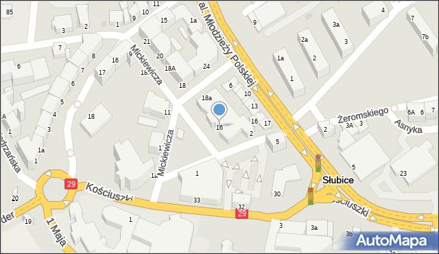 Słubice, Dąbrówki, 16, mapa Słubice