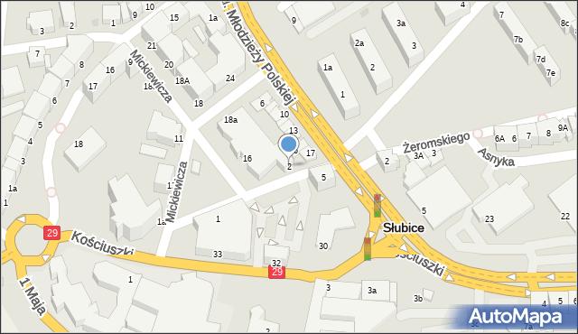 Słubice, Daszyńskiego, 2, mapa Słubice
