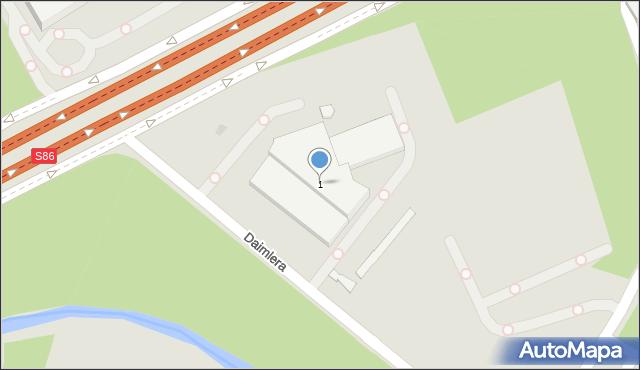 Sosnowiec, Daimlera Gottlieba, 1, mapa Sosnowca
