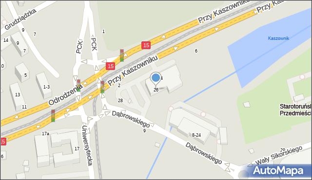 Toruń, Dąbrowskiego Henryka, gen., 26, mapa Torunia
