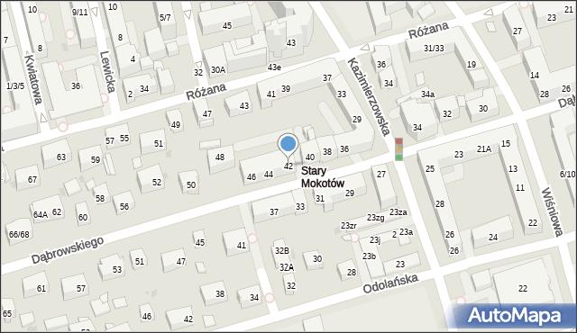Warszawa, Dąbrowskiego Jarosława, gen., 42, mapa Warszawy