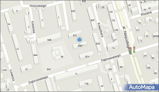 Warszawa, Dąbrowskiego Jarosława, gen., 82B, mapa Warszawy