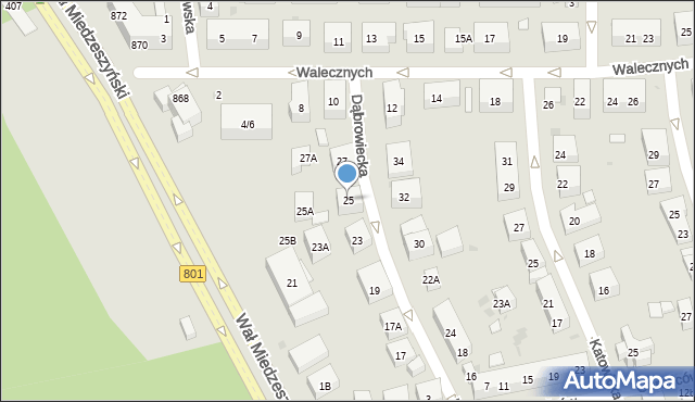 Warszawa, Dąbrowiecka, 25, mapa Warszawy