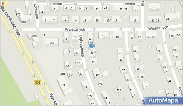 Warszawa, Dąbrowiecka, 34, mapa Warszawy