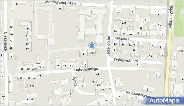 Zabrze, Dąbrowskiego Jarosława, gen., 15A, mapa Zabrza