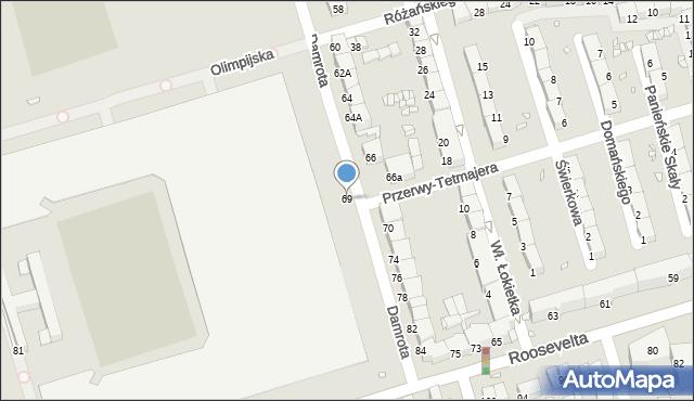 Zabrze, Damrota Konstantego, ks., 69, mapa Zabrza