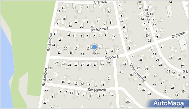 Bytom, Dębowa, 10, mapa Bytomia