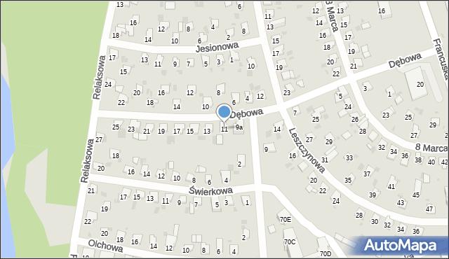 Bytom, Dębowa, 11, mapa Bytomia