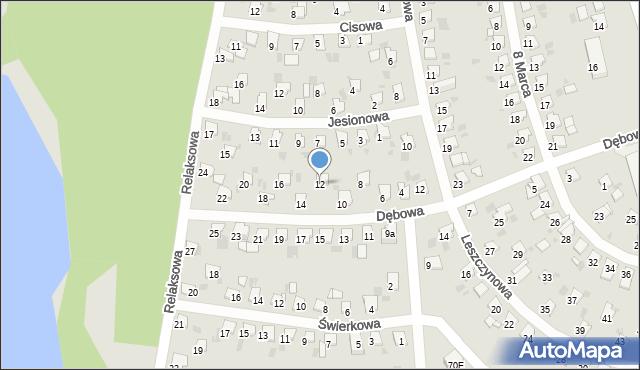 Bytom, Dębowa, 12, mapa Bytomia