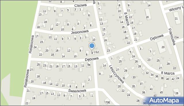 Bytom, Dębowa, 4, mapa Bytomia